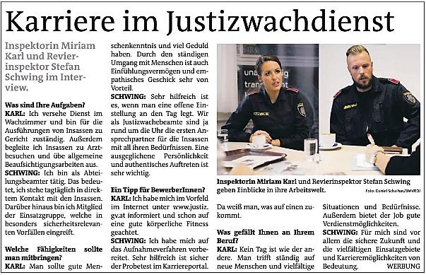 Karriere im Justizwachdienst - Artikel Bezirkszeitung Miriam Karl und Stefan Schwing