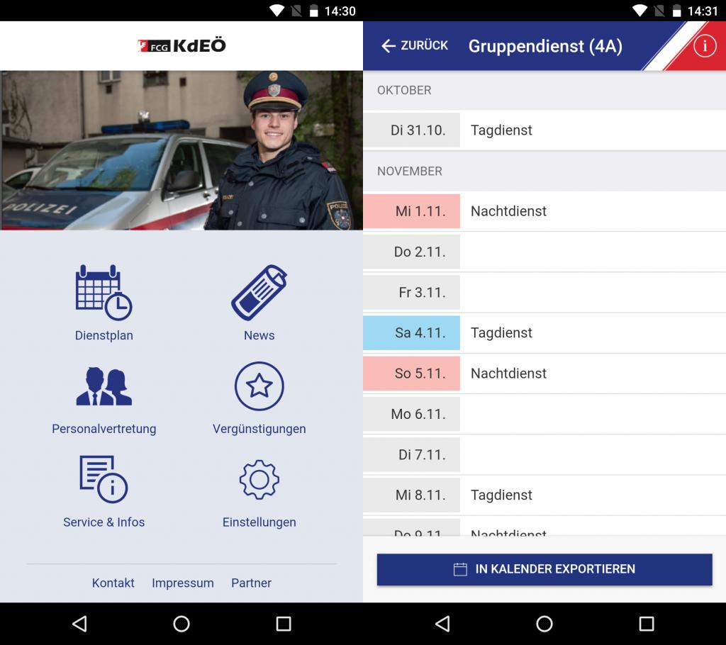 Die App der Kameradschaft der Exekutive Österreichs (FCG-KdEÖ) mit Dienstkalenderfunktion