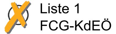 Wahlkreuz mit Liste